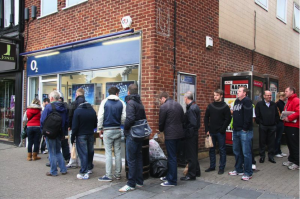 Queues outside St Albans during the launch